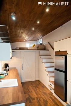 The Chene is a nice tiny house built by Minimaliste. This tiny house builder is located in Quebec and built this tiny house to withstand the harsh Canadian winters. The Chene features red oak engineered wood flooring, 6-inch pine siding painted white, and 8-inch knotty pine ceiling planks stained to match the flooring. These surfaces … Chene by MinimalisteRead More »