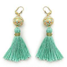 Long Mint Tassel Earrings Boho Tassel Jewelry by osofreejewellery