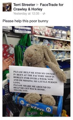 Jellycat bunny found in Horley at the Factory Shop, contact them on their fb group here: https://www.facebook.com/groups/287126101314635
