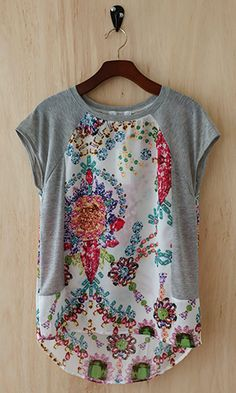 Stitch Fix Fashion 2017 - Detailed tee, grey sleeves and side and floral boho design. Spring Fashion - Stitch Fix Fashion 2017 - Detailed tee, grey sleeves and side and floral boho design. Diy Clothing, Sewing Clothes, Clothes Refashion, Upcycle T Shirts, T Shirt Refashion, Refashioning Clothes, Remake Clothes, Refashioned Clothing, Umgestaltete Shirts
