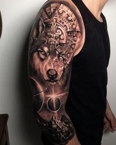 I like this tattoo, I want it lol Tattoos Masculinas, Wolf Tattoos Men, Forearm Band Tattoos, Skull Tattoos, Animal Tattoos, Life Tattoos, Body Art Tattoos, Tattoos For Guys, Warrior Tattoos