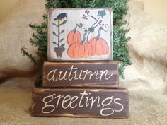 Primitive Country Pumpkins Crow Autumn Greetings Fall Wood Block Sitter Set  #AutumnGreetings