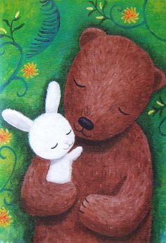 Bear & Bunny Love Illustration Print Home Wall Decor por mikaart