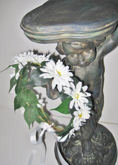 Floral Hair Wreath, Boho Wedding, Hippie Halo, Daisy Hairpiece. Custom Orders Welcomed