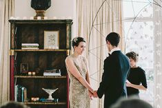 A Living Room Wedding & a gorgeous champagne colored gown!