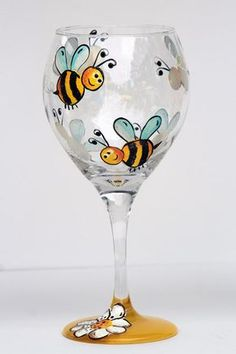 whimsical bumble bee / white flower wine by lorrieswinedesigns