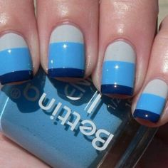 Light grey/blue, baby blue, and dark blue French tip. This would look good with any colors