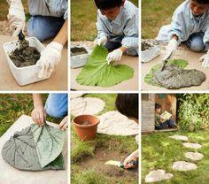 DIY stepping stone with leaf pattern.