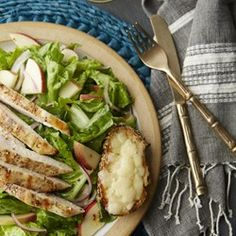 Apple & Grilled Chicken Salad with Cheddar Toasts - EatingWell.com