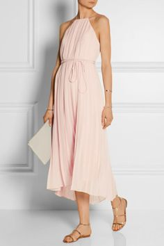 Tibi | Simone pleated silk-chiffon dress
