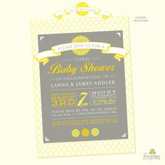 Printable You Are My Sunshine Baby Shower Invitation Yellow Grey Baby Shower Invitation.