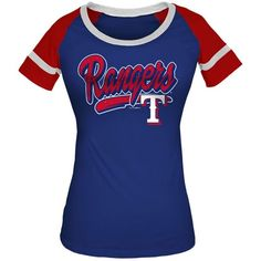 5th & Ocean Women's Texas Rangers Homerun T-Shirt (€28) ❤ liked on Polyvore featuring tops, t-shirts, royal blue, blue shirt, vintage style t shirts, t shirts, layering t shirts and texas rangers shirts