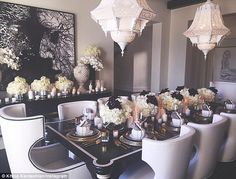 The feast: Khloe celebrated Thanksgiving with an extravagent dinner party  Thursday...