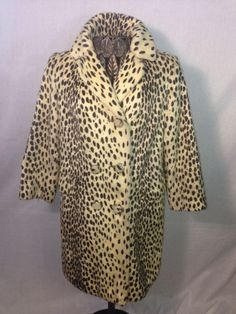 Vintage Vegan Chic By Morocco Faux Fur Coat Cream & Brown Sz M LUX! #Morocco #BasicCoat