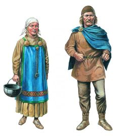 Viking man and woman illustration  Note the man's cloak is pinned up on the right shoulder in order to keep the sword arm free.
