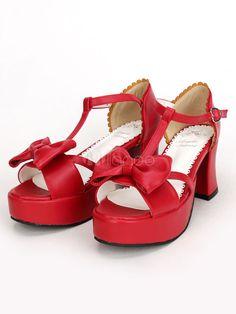 3128f97752c Red Lolita Chunky Pony Heels Shoes Platform Ankle Strap Bow  Pony