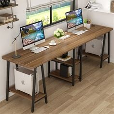 Shop 94.5 Inches Computer Desk Extra Long Two Person Desk - Dark walnut - Overstock - 31311930 Home Office Setup, Home Office Space, Home Office Desks, Home Office Furniture, Office Ideas, Office Decor, Office With 2 Desks, Home Offices, Desk For Two