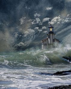 ~~Seascape ~ thunderous waves hit a lighthouse by peter holme III~~