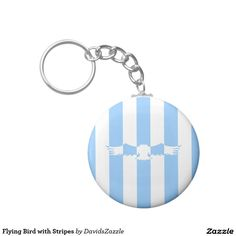 Flying Bird with Stripes Button Key Chain  Available on more products! Use the design name to search my Zazzle Products Page.  #eagle #bird #flight #flying #fly #feather #wings #blue #sky #take #white #animal #nature #planet #earth #illustration #silhouette #chic #contemporary #buy #sale #zazzle #key #chain
