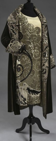 Woman's Evening Dress, by Gustave Beer, France, c. 1925. Silver sequins and jet beads on white silk chiffon. Collection of the Philadelphia Museum of Art.