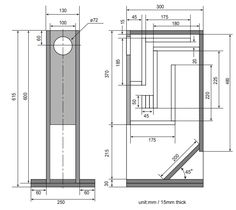 enclosure plan fostex fx120 ml tqwt speaker. Black Bedroom Furniture Sets. Home Design Ideas