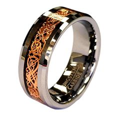 18K Rose Gold Plated Celtic Dragon 8mm Wide Tungsten Carbide Wedding Band Ring - ADDITIONAL INFO @ http://www.jewelry.todaysreviews.org/Jewel/100176/r204