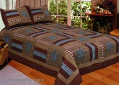 Barnwood Bedding Quilted Combo / Like us on Facebook!  www.facebook.com/allysonsplacedecor / #Primitive