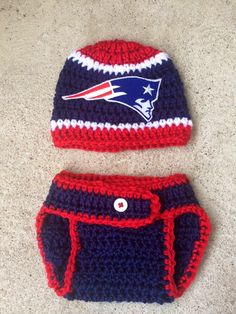 Crochet Newborn New England Patriots Hat with matching diaper cover and optional booties, for baby boy or baby girl by Rx3CustomCrochet on Etsy https://www.etsy.com/listing/219428294/crochet-newborn-new-england-patriots-hat