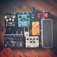 @Caitie Nielson's awesome little pedal board. Love all these pedal choices!