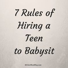 "Hiring a babysitter so you and your spouse can enjoy a ""date night"" out of the house, without little people demanding to have their butt's wiped, or their food cut into bite size pieces is a special treat for any couple.  But, for the teenager who is taking your place in the role of caregiver to your kids for the night, it's a part-time job.  One they do not because they simply love children, but because they want a chance to earn some spending money of their own that they don't have to beg…"