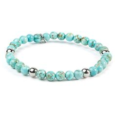 Add soft elegance to your look with the ELYA Stainless Steel Turquoise Beaded Bracelet. The dreamy look of turquoise gets a boost from silver shimmer in this beaded turquoise bracelet. Bracelets Diy, Gemstone Bracelets, Silver Bracelets, Fashion Bracelets, Gemstone Jewelry, Beaded Jewelry, Jewelry Necklaces, Handmade Bracelets, Diy Schmuck