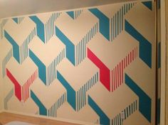 He Took Paint And Tape To Create This 3D Wall Design