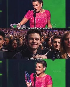; #tb to when lea dedicated her peoples choice award to chris OMG BABIES so far i've had such a good morning with interviews and glee and fanfiction and ugh but it's going to be ruined by chores and homework any minute nowwww #glee #colfchele
