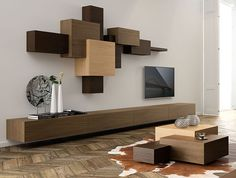 Decorative Shelving System in Overlapped Geometric Design – Collage - The Great Inspiration for Your Building Design - Home, Building, Furniture and Interior Design Ideas Tv Unit Design, Tv Wall Design, House Design, Living Room Tv, Home And Living, Living Room Furniture, Wall Mounted Tv Unit, Wall Units, Floating Tv Unit