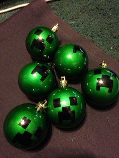 Set of 6 mine craft creeper christmas ornaments on Etsy, $5.99
