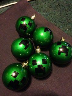 Set of 6 mine craft creeper christmas ornaments on Etsy, $5.99
