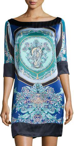 Versace 3/4-Sleeve Printed Silk Tunic Dress     <>   @kimludcom   <>   www.kimlud.com