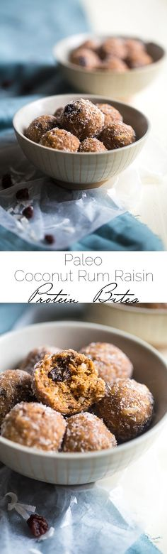 Paleo Coconut Rum Raisin Energy Balls - A quick and easy snack that are ready in only 10 minutes! A healthy, high protein and gluten free taste of the tropics to give you an energy boost! | Foodfaithfitness.com | @FoodFaithFit