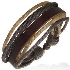 Urban Male Brown Leather  Cord Mens Surfer Bracelet Adjustable Length