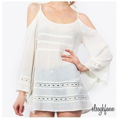 "[nwt] ""Born to Run""❘cold shoulder boho top • cream long sleeve top with cutouts around the shoulders and bell sleeves • perfect paired with denim shorts and gladiator sandals  100% cotton hand wash   no trades ∣ price firm ∣ brand new with tags   Ready to purchase? Click ""Buy Now"" and select size on the pop-up menu  ✨Host Pick! Girly Girl Party✨ Sugar Lips Tops"