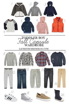 Toddler Boy Fall Capsule Wardrobe - Lauren McBride How to Cope With Your Toddler and Your New Baby W Boys Fall Fashion, Toddler Boy Fashion, Little Boy Fashion, Toddler Boy Outfits, Baby Kids Clothes, Toddler Boys, Kids Outfits, Kids Clothing, Clothing Stores
