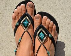 Boho Women Sandals, Flip Flops Bohemian Chic, Foot Jewelry Anklet Sandals, Boho Beach Sandals Shoes  Turquoise, Gold & Bronze Beaded Bohemian Flip Flop Sandals, based on Light Golden Havaianas - 100% Handmade.  You can decorate your hands, ears, neck but