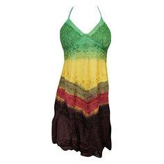 Mogul Interior Sundress Colorful Tie-Dye Lace Hippie Halter Boho Sexy... (52 AUD) ❤ liked on Polyvore featuring dresses, lace halter top, tie-dye dresses, bohemian lace dress, tie dye dress and halter cocktail dress