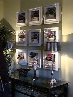 Shadow boxes that display vintage bone china tea cups & their saucers with flowers or succulents - I WANT a wall of this in my home! Tea Cup Display, Succulent Display, Bone China Tea Cups, Displaying Collections, Vintage Tea, Shadow Box, Decoration, Gallery Wall, Wall Decor