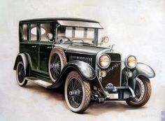 Diamond Painting Black and Green Antique Car Kit - Classic car list Auto Retro, Retro Cars, Vintage Cars, Antique Cars, Images Vintage, Car Illustration, Illustrations, Car Drawings, 5d Diamond Painting