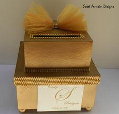 Gold Wedding Card Box Bling by SweetJonesin on Etsy, $75.00