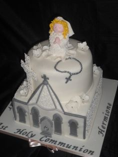 1st Holy Communion cake, everything completely edible :)