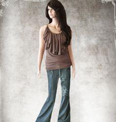 Women blouse brown Brown tee top Drape cascade by tratgirl55
