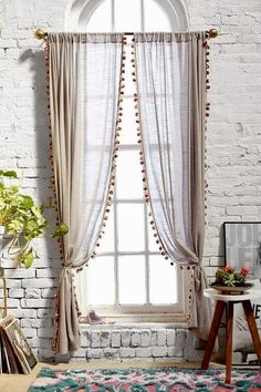 Magical Thinking Pompom Curtain - Urban Outfitters Curtains needed Cortina Boho, Rideaux Design, Window Dressings, Curtains With Blinds, Pom Pom Curtains, Striped Curtains, Picture Window Curtains, Curtains For Arched Windows, Neutral Curtains