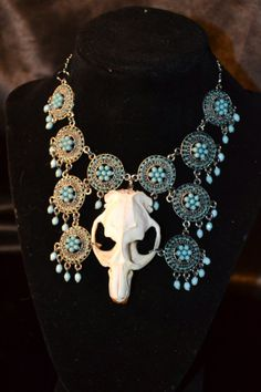 Muskrat  Skull Necklace With Turquoise Charms